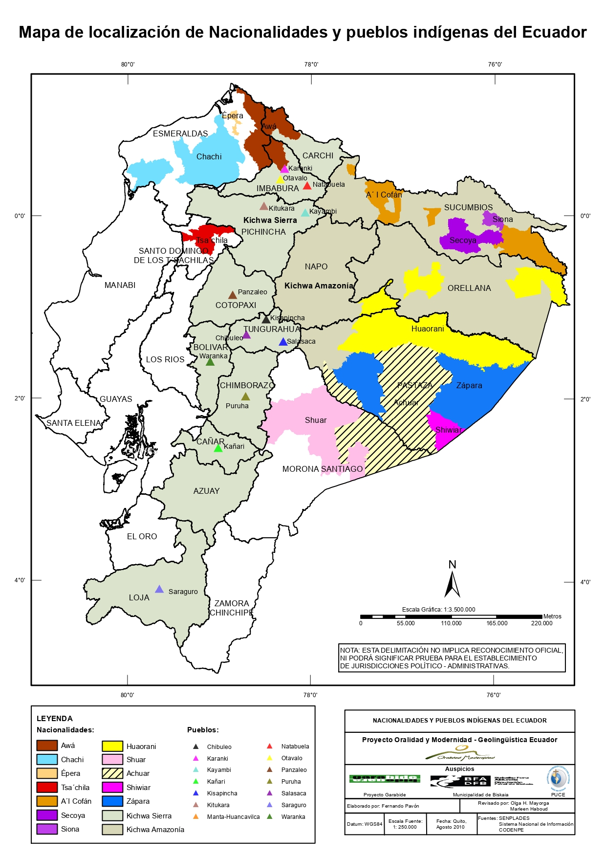 Mapa de localización de Nacionalidades y pueblos indígenas del Ecuador